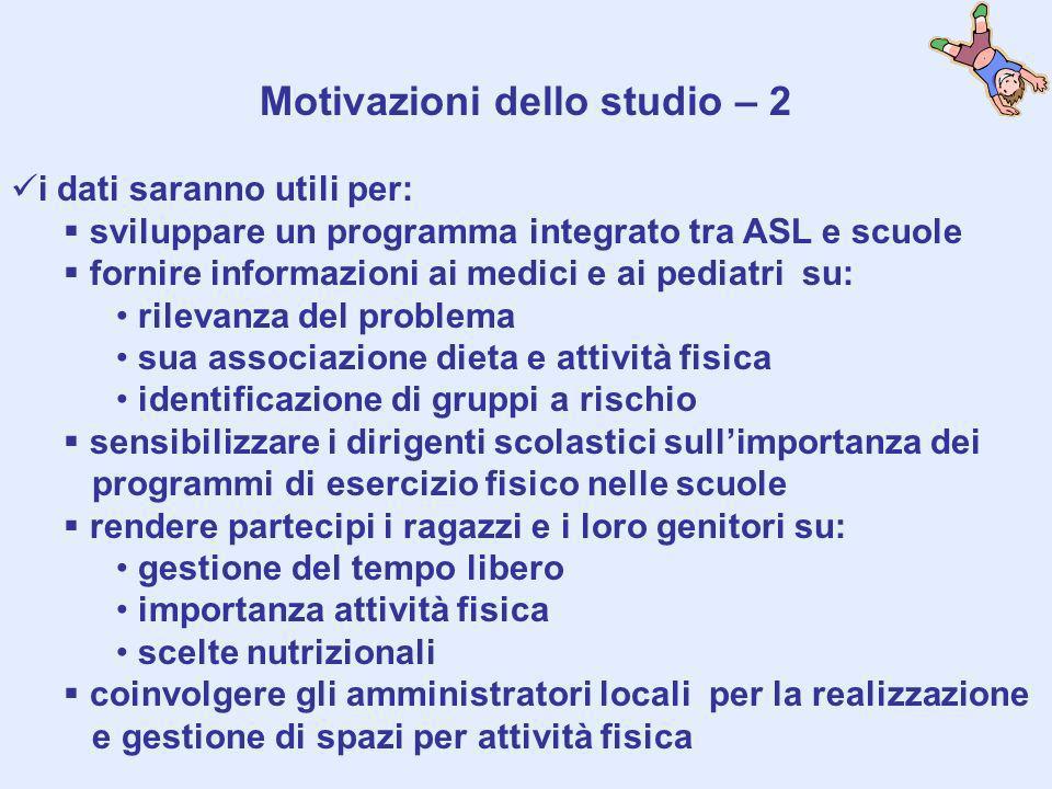 Motivazioni dello studio – 2 i dati saranno utili per: sviluppare un programma integrato tra ASL e scuole fornire informazioni ai medici e ai pediatri