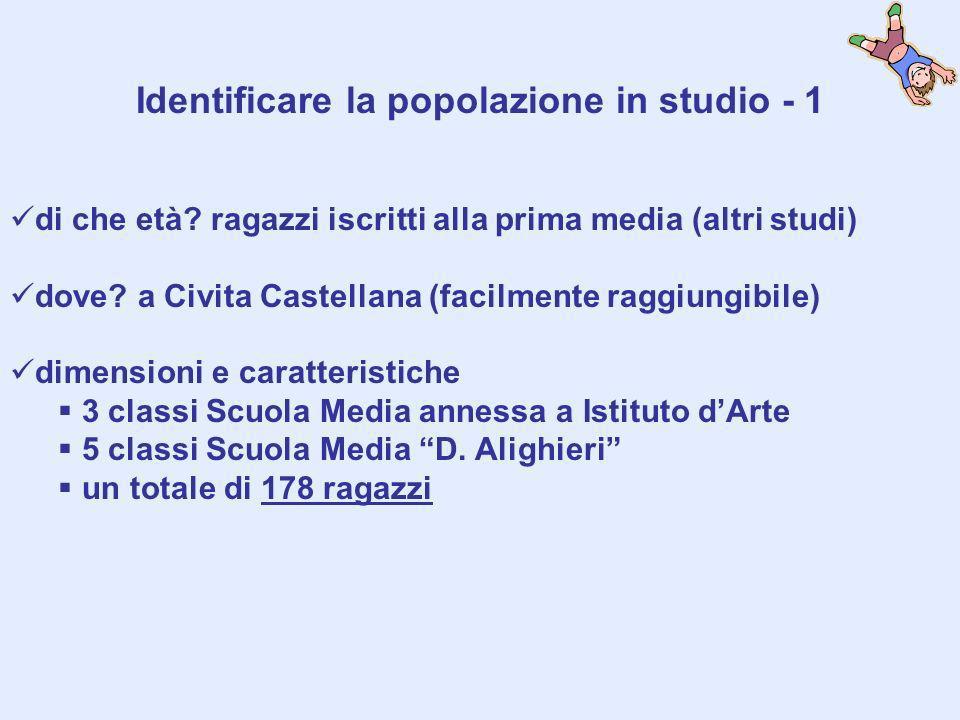 Identificare la popolazione in studio - 1 di che età? ragazzi iscritti alla prima media (altri studi) dove? a Civita Castellana (facilmente raggiungib