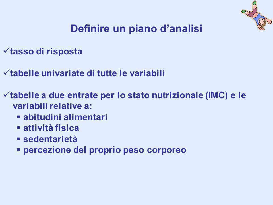 Definire un piano danalisi tasso di risposta tabelle univariate di tutte le variabili tabelle a due entrate per lo stato nutrizionale (IMC) e le varia
