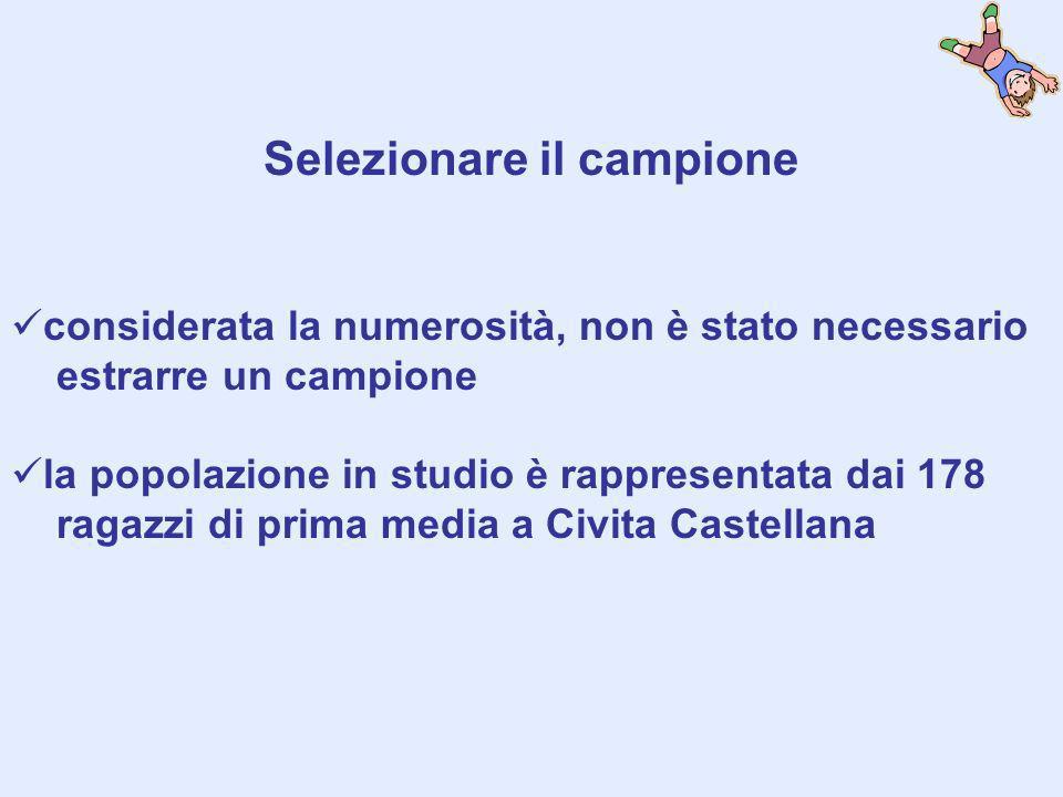 Selezionare il campione considerata la numerosità, non è stato necessario estrarre un campione la popolazione in studio è rappresentata dai 178 ragazzi di prima media a Civita Castellana