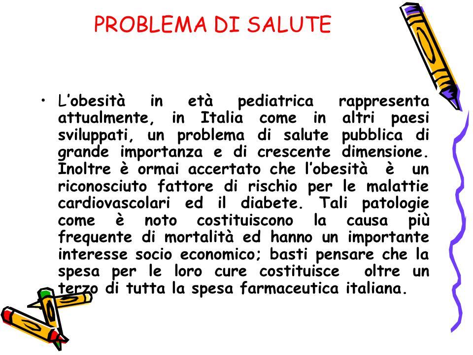 PROBLEMA DI SALUTE Lobesità in età pediatrica rappresenta attualmente, in Italia come in altri paesi sviluppati, un problema di salute pubblica di gra