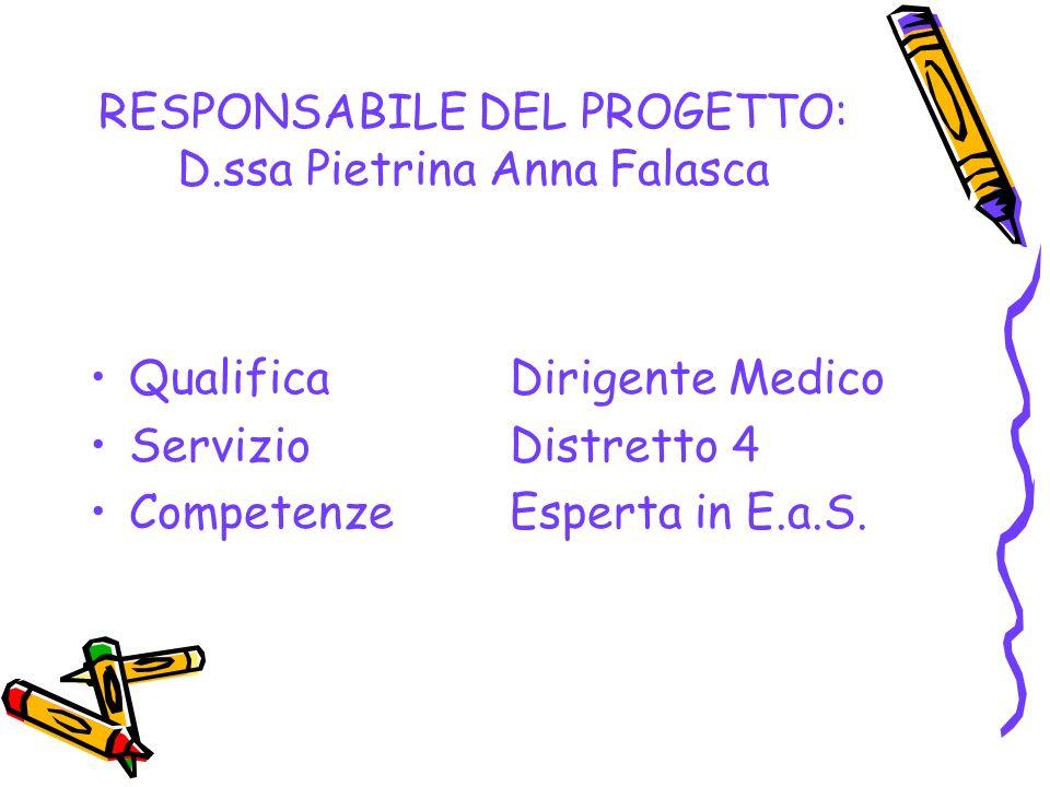 RESPONSABILE DEL PROGETTO: D.ssa Pietrina Anna Falasca Qualifica Dirigente Medico ServizioDistretto 4 CompetenzeEsperta in E.a.S.