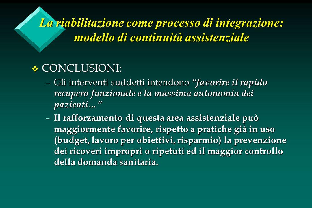 La riabilitazione come processo di integrazione: modello di continuità assistenziale v CONCLUSIONI: –Gli interventi suddetti intendono favorire il rap
