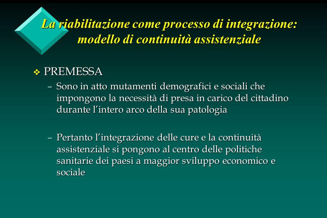 La riabilitazione come processo di integrazione: modello di continuità assistenziale v PREMESSA –Sono in atto mutamenti demografici e sociali che impo