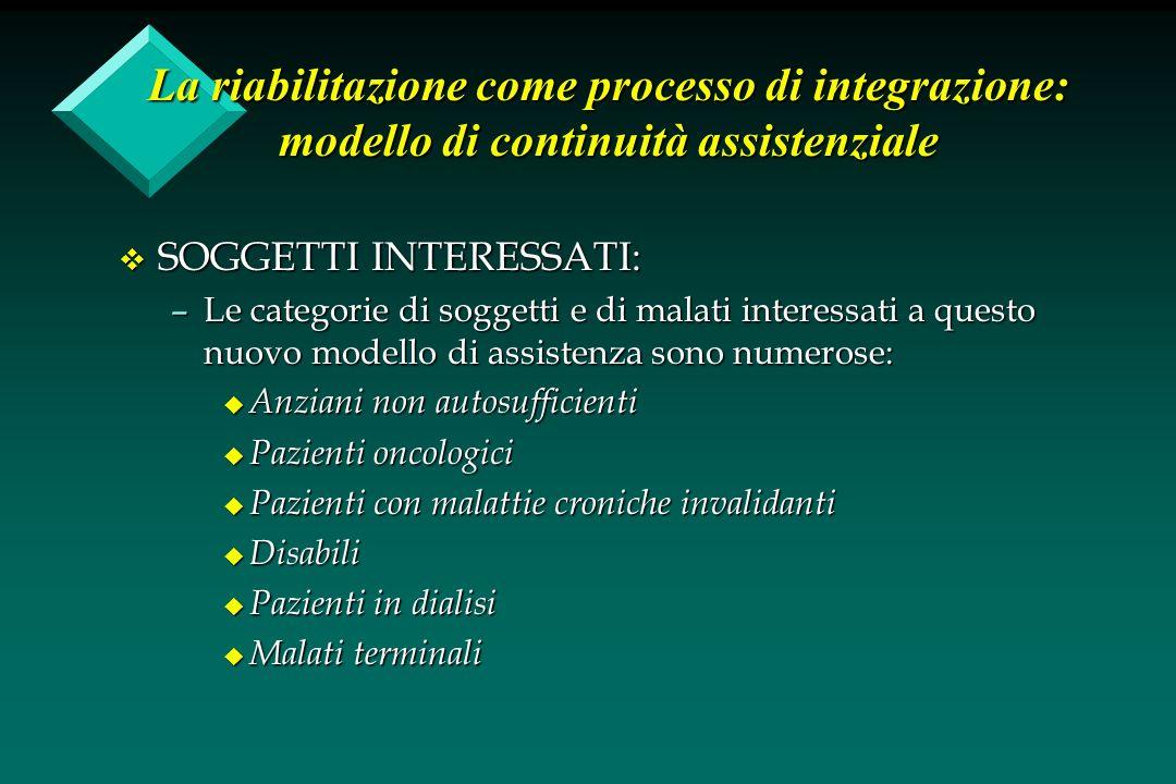 La riabilitazione come processo di integrazione: modello di continuità assistenziale v SOGGETTI INTERESSATI: –Le categorie di soggetti e di malati int