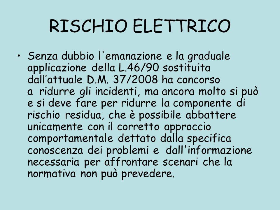 RISCHIO ELETTRICO Senza dubbio l'emanazione e la graduale applicazione della L.46/90 sostituita dallattuale D.M. 37/2008 ha concorso a ridurre gli inc