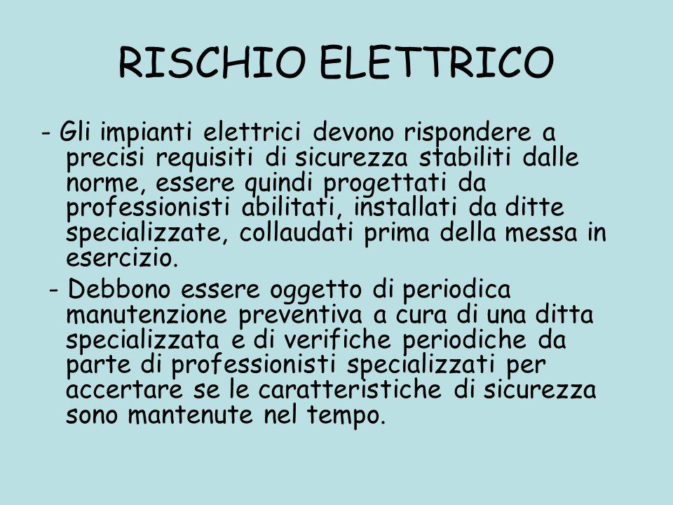 RISCHIO ELETTRICO - Gli impianti elettrici devono rispondere a precisi requisiti di sicurezza stabiliti dalle norme, essere quindi progettati da profe