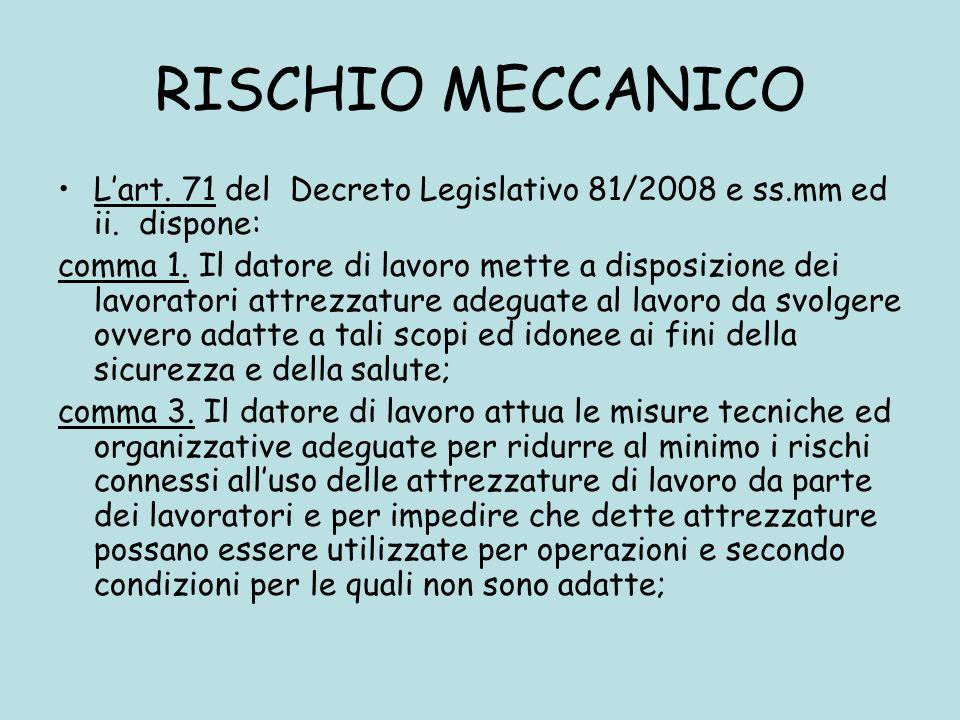 RISCHIO MECCANICO Lart. 71 del Decreto Legislativo 81/2008 e ss.mm ed ii. dispone: comma 1. Il datore di lavoro mette a disposizione dei lavoratori at