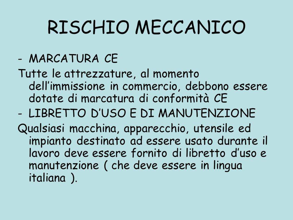 RISCHIO MECCANICO -MARCATURA CE Tutte le attrezzature, al momento dellimmissione in commercio, debbono essere dotate di marcatura di conformità CE -LI