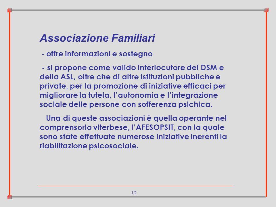 10 Associazione Familiari - offre informazioni e sostegno - si propone come valido interlocutore del DSM e della ASL, oltre che di altre istituzioni p