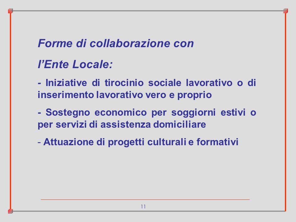 11 Forme di collaborazione con lEnte Locale: - Iniziative di tirocinio sociale lavorativo o di inserimento lavorativo vero e proprio - Sostegno econom