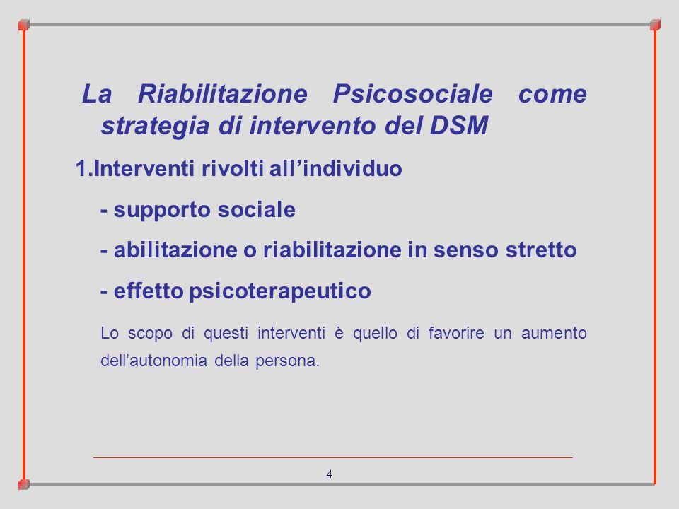 4 La Riabilitazione Psicosociale come strategia di intervento del DSM 1.Interventi rivolti allindividuo - supporto sociale - abilitazione o riabilitaz