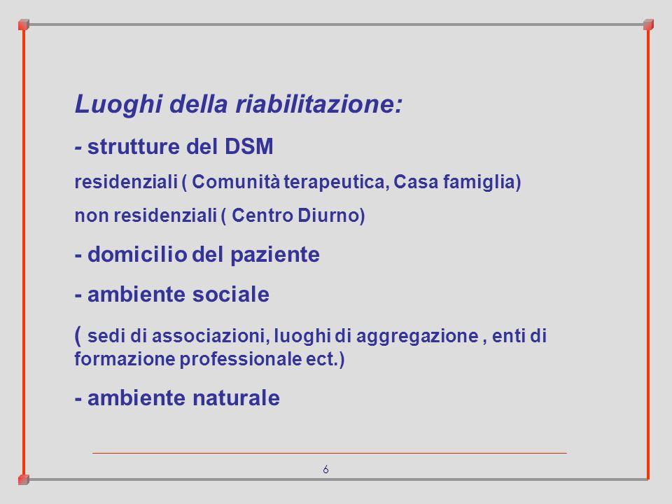6 Luoghi della riabilitazione: - strutture del DSM residenziali ( Comunità terapeutica, Casa famiglia) non residenziali ( Centro Diurno) - domicilio d