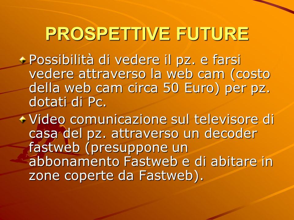 PROSPETTIVE FUTURE Possibilità di vedere il pz. e farsi vedere attraverso la web cam (costo della web cam circa 50 Euro) per pz. dotati di Pc. Video c