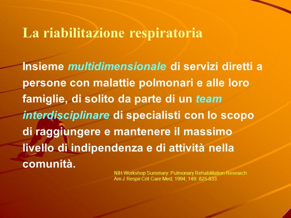 La riabilitazione respiratoria Insieme multidimensionale di servizi diretti a persone con malattie polmonari e alle loro famiglie, di solito da parte