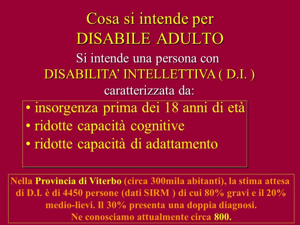 Cosa si intende per DISABILE ADULTO Si intende una persona con DISABILITA INTELLETTIVA ( D.I. ) caratterizzata da: Si intende una persona con DISABILI