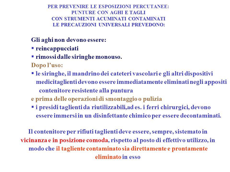 E TAGLI CON STRUMENTI ACUMINATI CONTAMINATI LE PRECAUZIONI UNIVERSALI PREVEDONO: PER PREVENIRE LE ESPOSIZIONI PERCUTANEE: PUNTURE CON AGHI E TAGLI CON STRUMENTI ACUMINATI CONTAMINATI LE PRECAUZIONI UNIVERSALI PREVEDONO: Gli aghi non devono essere: reincappucciati rimossi dalle siringhe monouso.