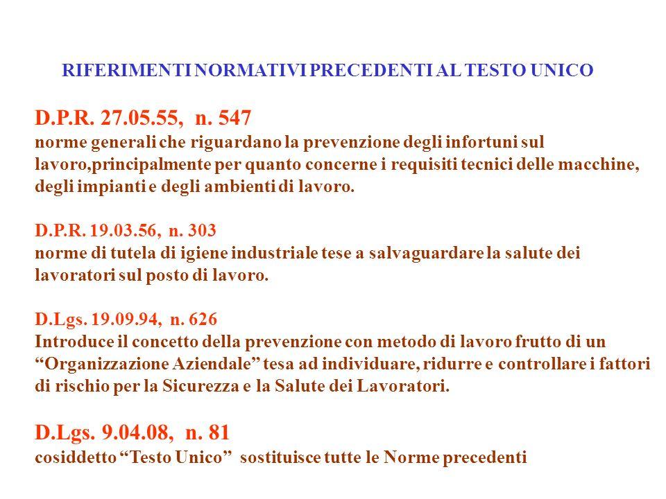 D.P.R. 27.05.55, n. 547 norme generali che riguardano la prevenzione degli infortuni sul lavoro,principalmente per quanto concerne i requisiti tecnici