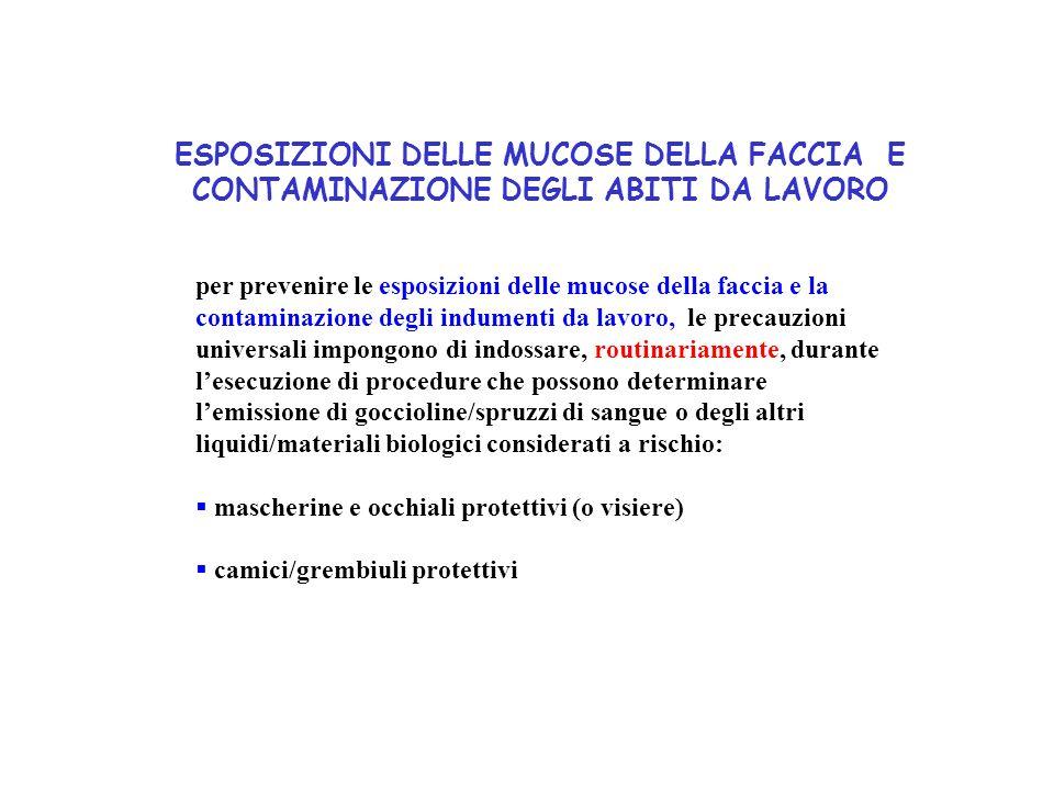 ESPOSIZIONI DELLE MUCOSE DELLA FACCIA E CONTAMINAZIONE DEGLI ABITI DA LAVORO per prevenire le esposizioni delle mucose della faccia e la contaminazion