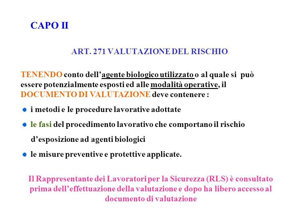 ART. 271 VALUTAZIONE DEL RISCHIO TENENDO conto dellagente biologico utilizzato o al quale si può essere potenzialmente esposti ed alle modalità operat