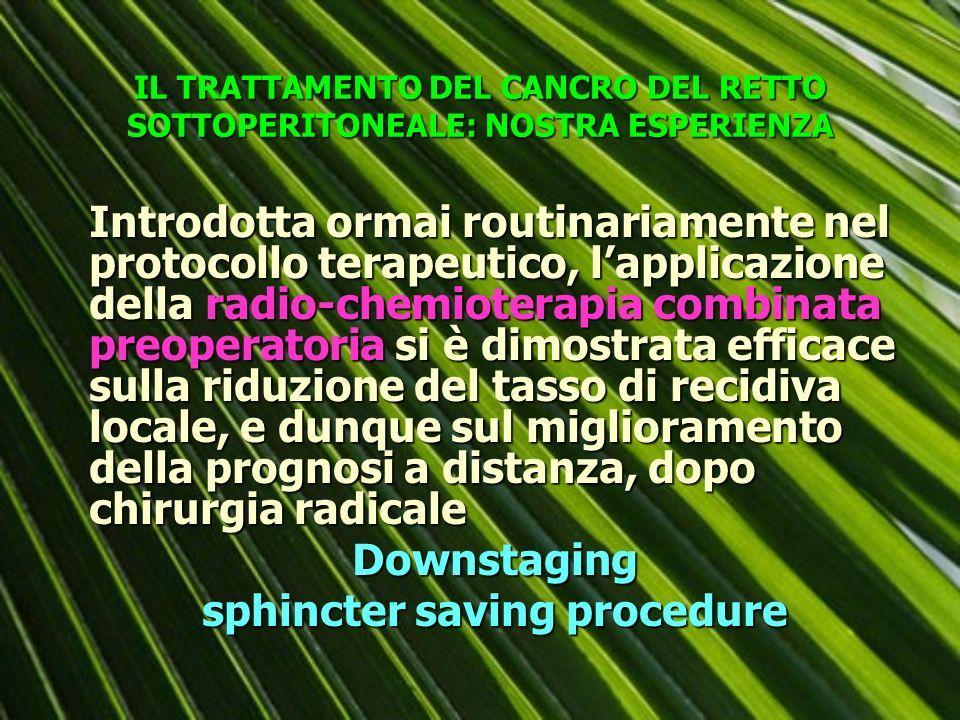 TRATTAMENTO CHIRURGICO DEL CANCRO DEL RETTO SOTTOPERITONEALE NOSTRA ESPERIENZA 65 ricostruzioni con anastomosi latero- terminale trans-suturale sec.