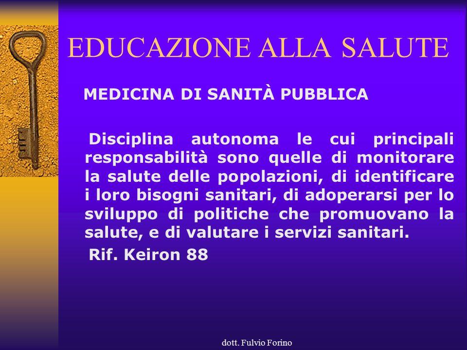 dott. Fulvio Forino EDUCAZIONE ALLA SALUTE MEDICINA DI SANITÀ PUBBLICA Disciplina autonoma le cui principali responsabilità sono quelle di monitorare