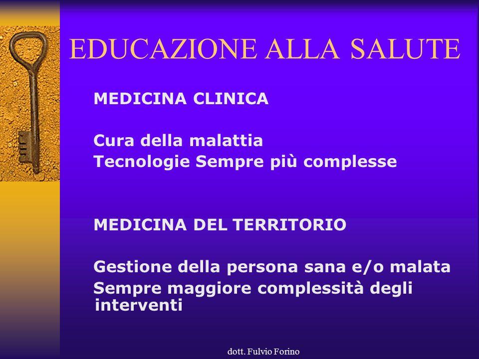 dott. Fulvio Forino EDUCAZIONE ALLA SALUTE MEDICINA CLINICA Cura della malattia Tecnologie Sempre più complesse MEDICINA DEL TERRITORIO Gestione della