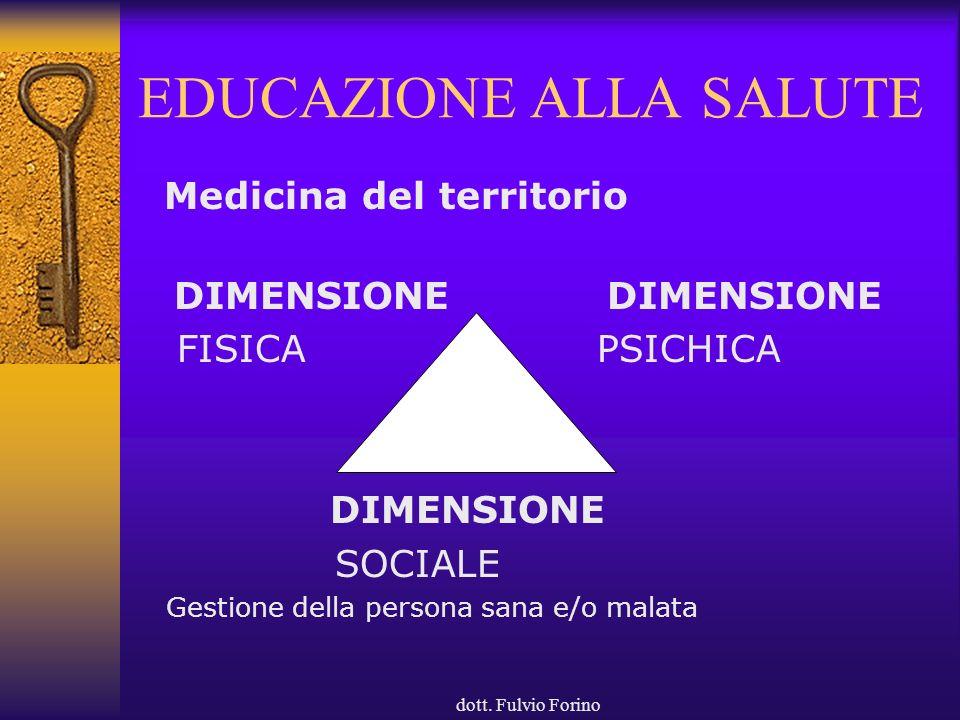 dott. Fulvio Forino EDUCAZIONE ALLA SALUTE Medicina del territorio DIMENSIONE FISICA PSICHICA DIMENSIONE SOCIALE Gestione della persona sana e/o malat