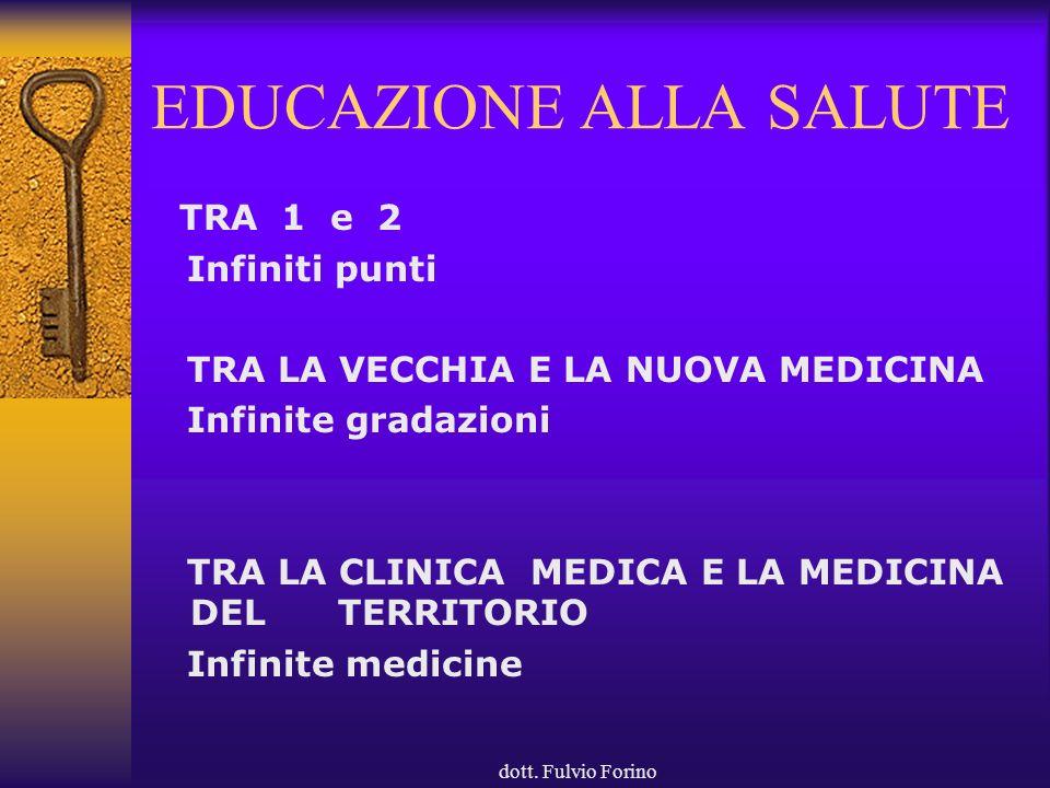 dott. Fulvio Forino EDUCAZIONE ALLA SALUTE TRA 1 e 2 Infiniti punti TRA LA VECCHIA E LA NUOVA MEDICINA Infinite gradazioni TRA LA CLINICA MEDICA E LA