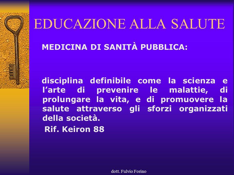 dott. Fulvio Forino EDUCAZIONE ALLA SALUTE MEDICINA DI SANITÀ PUBBLICA: disciplina definibile come la scienza e larte di prevenire le malattie, di pro
