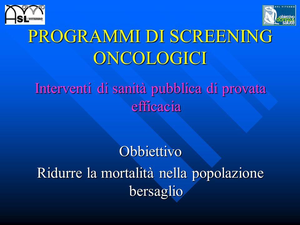 Screening di provata efficacia S S. CERVICOCARCINOMA. CANCRO DELLA MAMMELLA. CANCRO COLON-RETTO