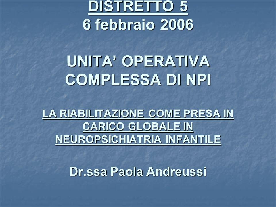 CONFERENZA DEI SERVIZI DISTRETTO 5 6 febbraio 2006 UNITA OPERATIVA COMPLESSA DI NPI LA RIABILITAZIONE COME PRESA IN CARICO GLOBALE IN NEUROPSICHIATRIA INFANTILE Dr.ssa Paola Andreussi