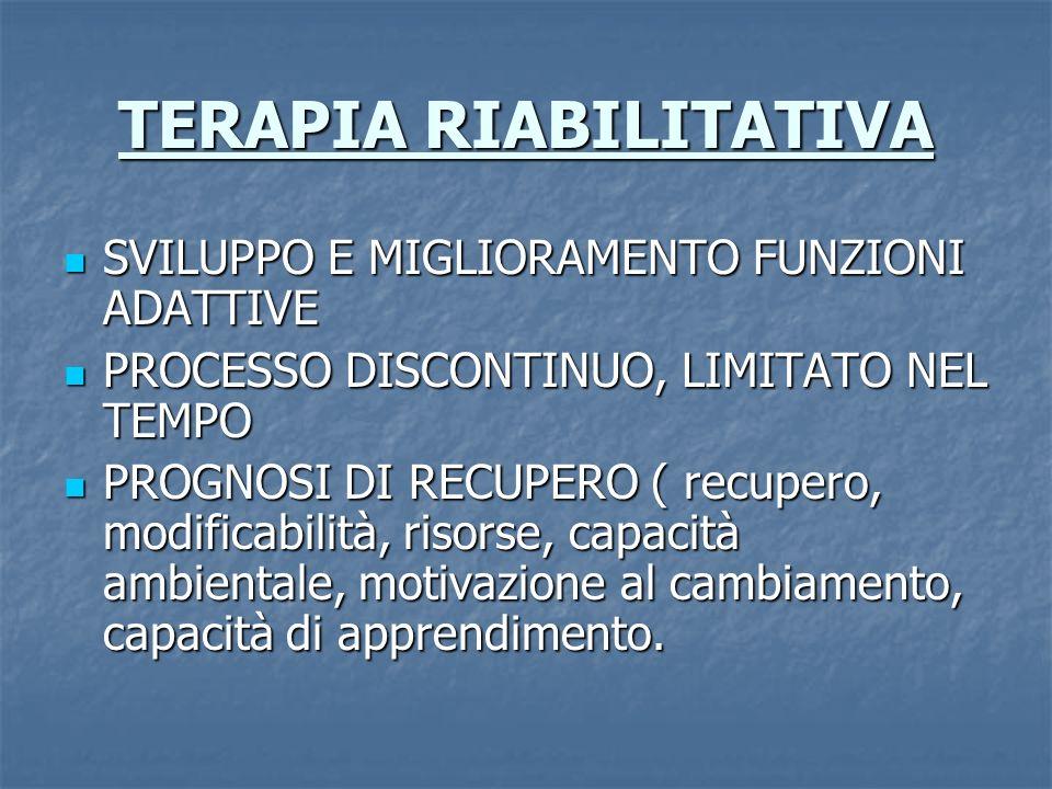 TERAPIA RIABILITATIVA SVILUPPO E MIGLIORAMENTO FUNZIONI ADATTIVE SVILUPPO E MIGLIORAMENTO FUNZIONI ADATTIVE PROCESSO DISCONTINUO, LIMITATO NEL TEMPO PROCESSO DISCONTINUO, LIMITATO NEL TEMPO PROGNOSI DI RECUPERO ( recupero, modificabilità, risorse, capacità ambientale, motivazione al cambiamento, capacità di apprendimento.