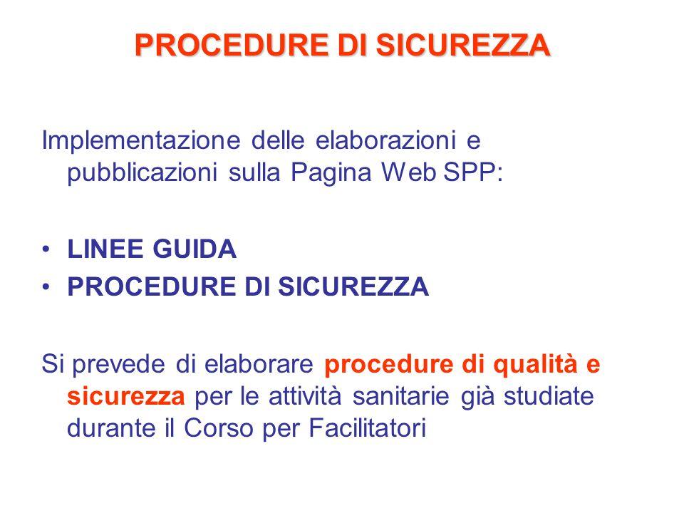 PROCEDURE DI SICUREZZA Implementazione delle elaborazioni e pubblicazioni sulla Pagina Web SPP: LINEE GUIDA PROCEDURE DI SICUREZZA Si prevede di elabo