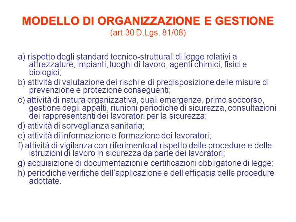 MODELLO DI ORGANIZZAZIONE E GESTIONE MODELLO DI ORGANIZZAZIONE E GESTIONE (art.30 D.Lgs. 81/08) a) rispetto degli standard tecnico-strutturali di legg