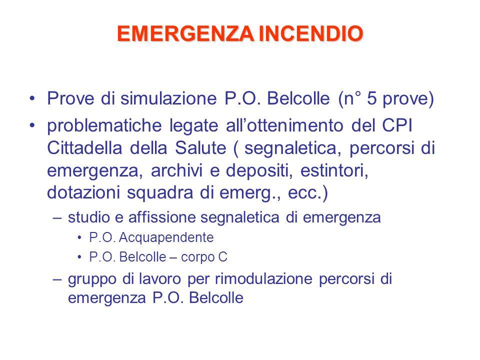EMERGENZA INCENDIO Prove di simulazione P.O. Belcolle (n° 5 prove) problematiche legate allottenimento del CPI Cittadella della Salute ( segnaletica,