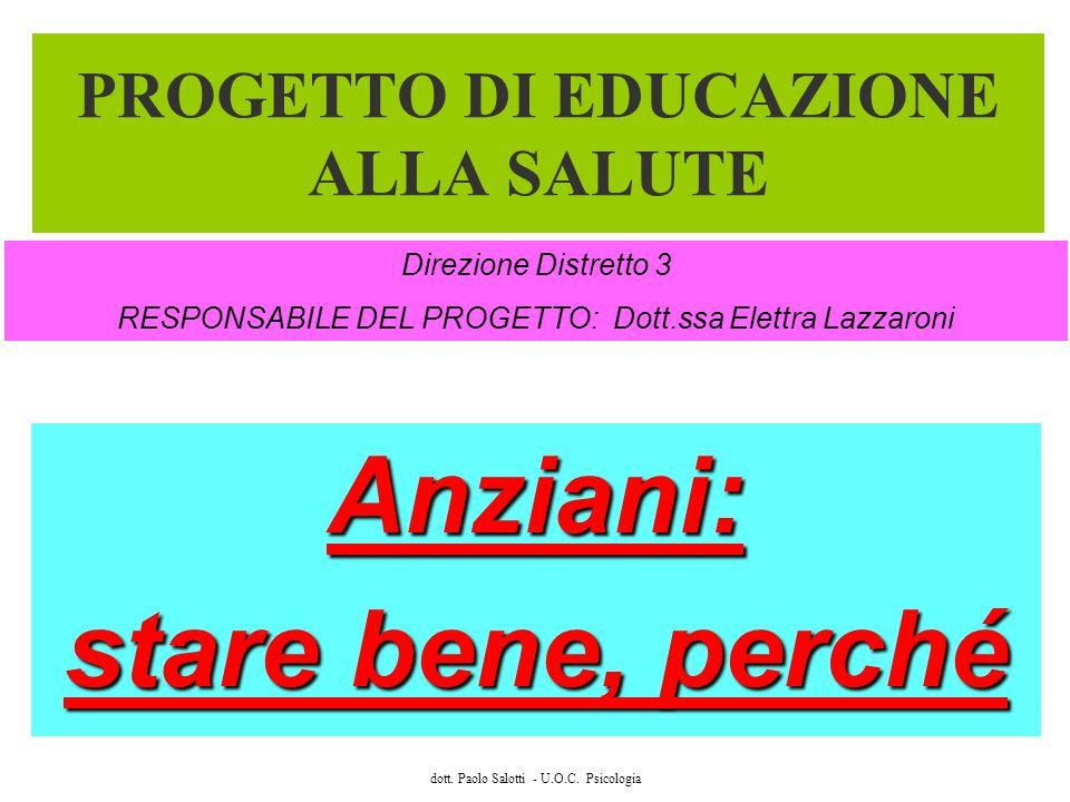 dott. Paolo Salotti - U.O.C. Psicologia PROGETTO DI EDUCAZIONE ALLA SALUTE Anziani: stare bene, perché Direzione Distretto 3 RESPONSABILE DEL PROGETTO