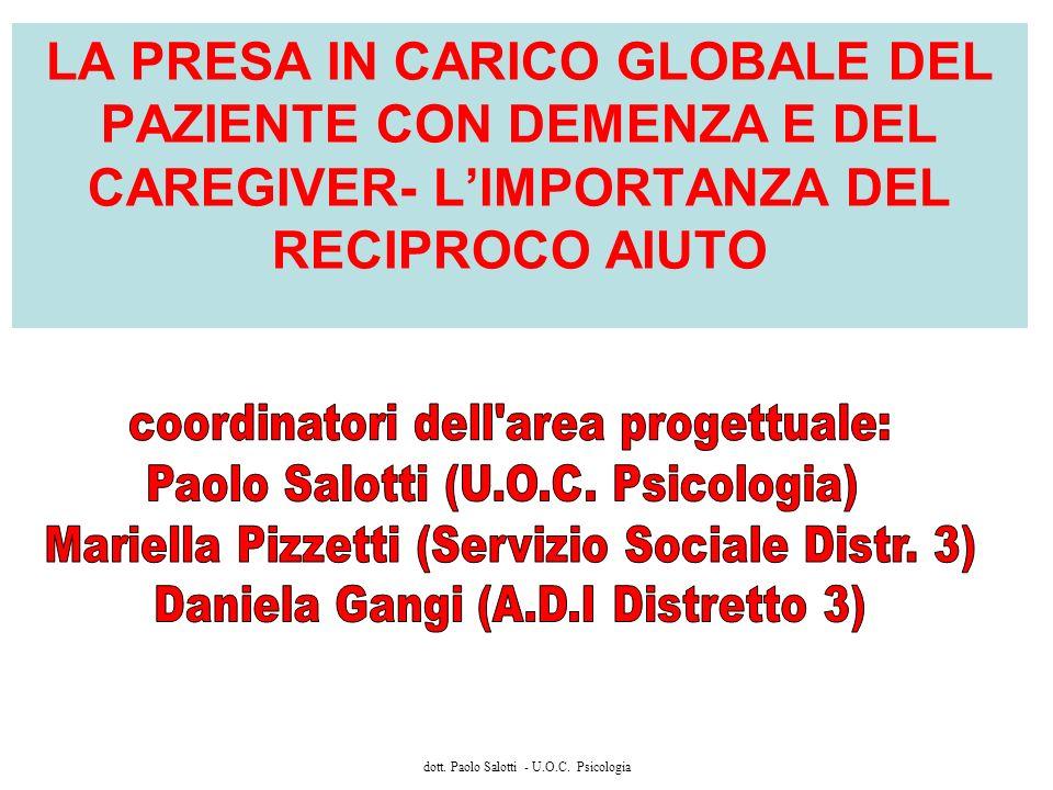 dott. Paolo Salotti - U.O.C. Psicologia LA PRESA IN CARICO GLOBALE DEL PAZIENTE CON DEMENZA E DEL CAREGIVER- LIMPORTANZA DEL RECIPROCO AIUTO