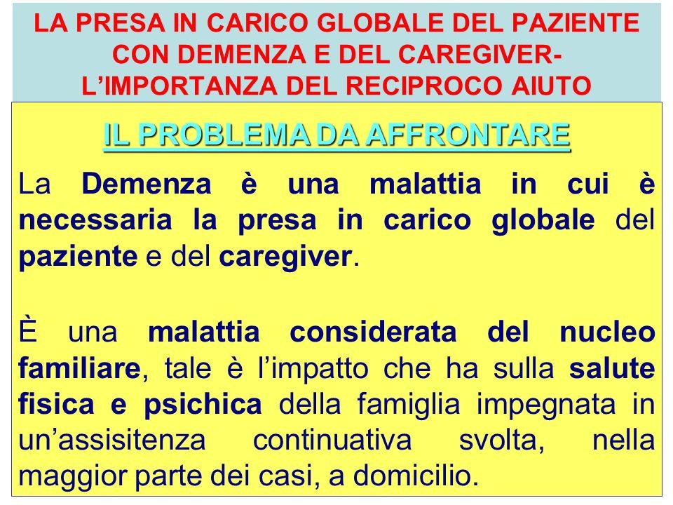 dott. Paolo Salotti - U.O.C. Psicologia LA PRESA IN CARICO GLOBALE DEL PAZIENTE CON DEMENZA E DEL CAREGIVER- LIMPORTANZA DEL RECIPROCO AIUTO IL PROBLE