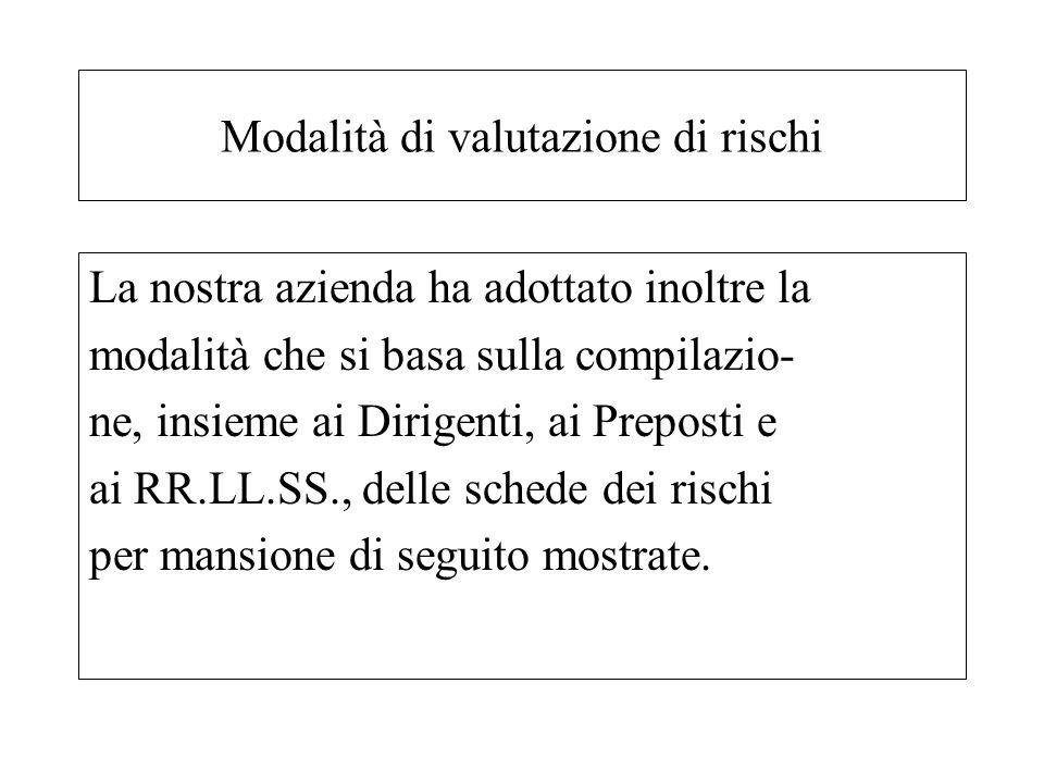 La nostra azienda ha adottato inoltre la modalità che si basa sulla compilazio- ne, insieme ai Dirigenti, ai Preposti e ai RR.LL.SS., delle schede dei