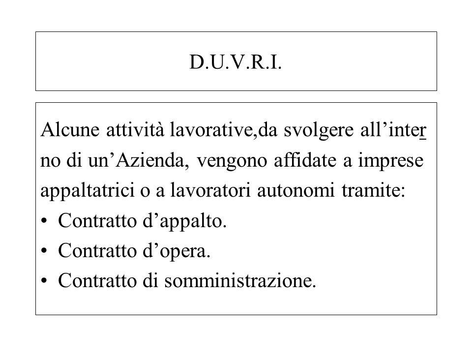 D.U.V.R.I. Alcune attività lavorative,da svolgere allinter no di unAzienda, vengono affidate a imprese appaltatrici o a lavoratori autonomi tramite: C