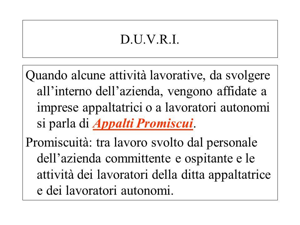 D.U.V.R.I. Quando alcune attività lavorative, da svolgere allinterno dellazienda, vengono affidate a imprese appaltatrici o a lavoratori autonomi si p