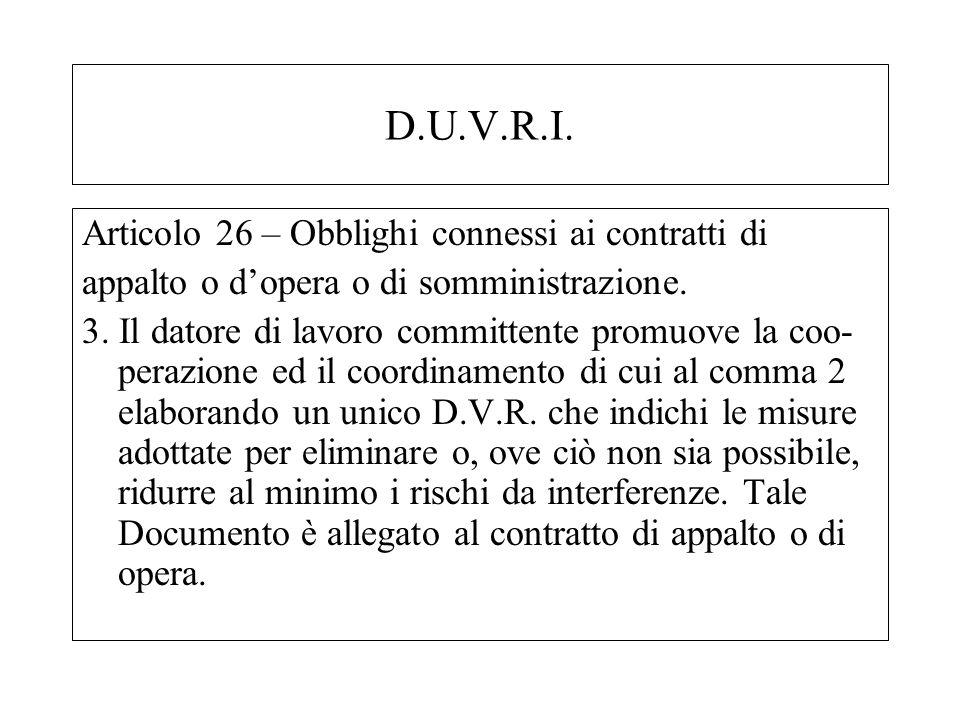 D.U.V.R.I. Articolo 26 – Obblighi connessi ai contratti di appalto o dopera o di somministrazione. 3. Il datore di lavoro committente promuove la coo-
