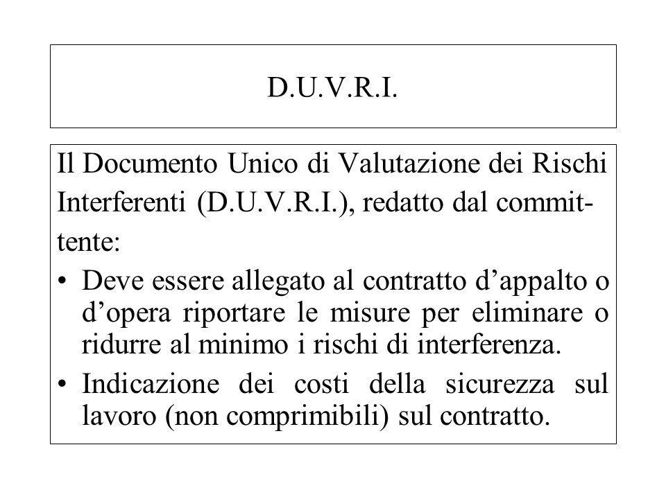 D.U.V.R.I. Il Documento Unico di Valutazione dei Rischi Interferenti (D.U.V.R.I.), redatto dal commit- tente: Deve essere allegato al contratto dappal