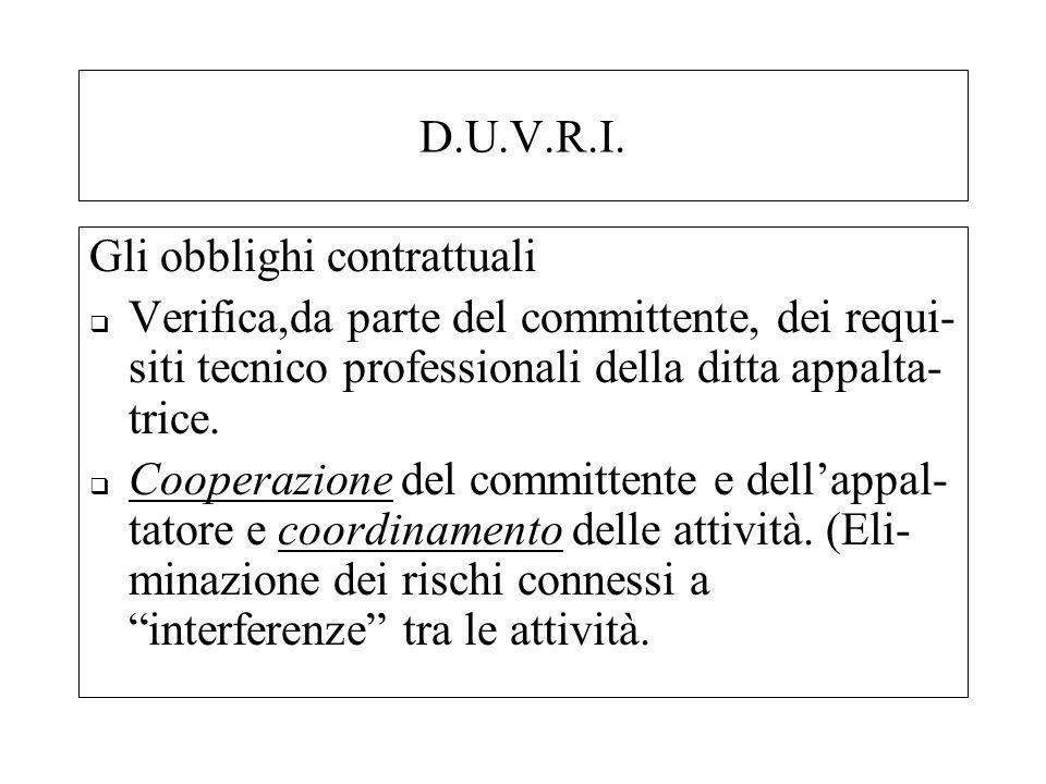 D.U.V.R.I. Gli obblighi contrattuali Verifica,da parte del committente, dei requi- siti tecnico professionali della ditta appalta- trice. Cooperazione