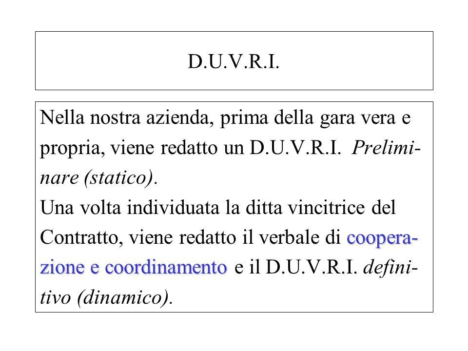 D.U.V.R.I. Nella nostra azienda, prima della gara vera e propria, viene redatto un D.U.V.R.I. Prelimi- nare (statico). Una volta individuata la ditta