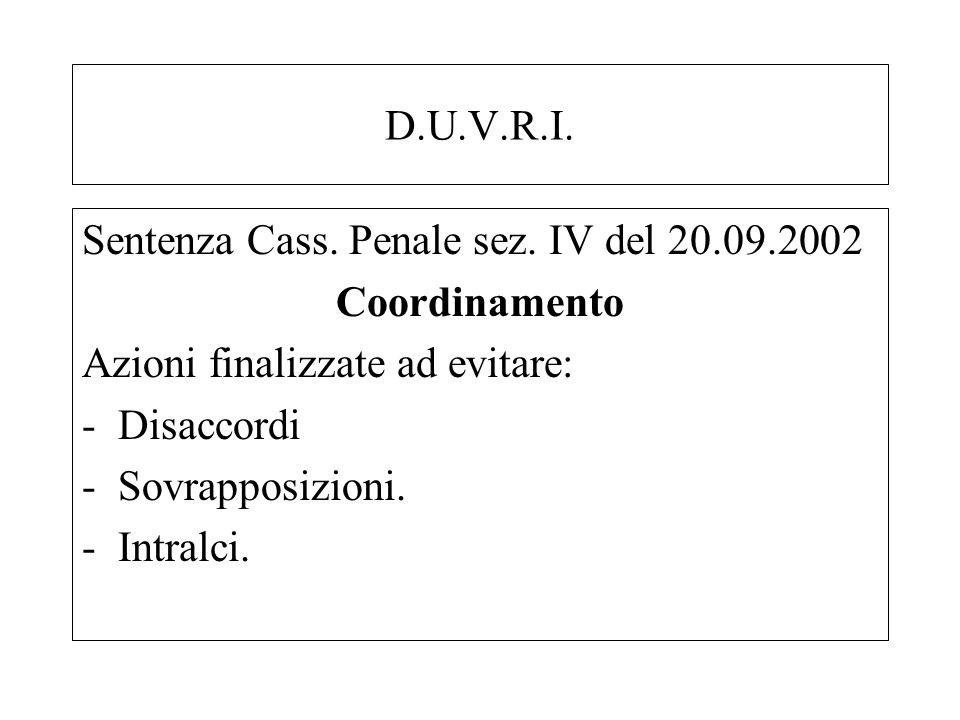 D.U.V.R.I. Sentenza Cass. Penale sez. IV del 20.09.2002 Coordinamento Azioni finalizzate ad evitare: -Disaccordi -Sovrapposizioni. -Intralci.