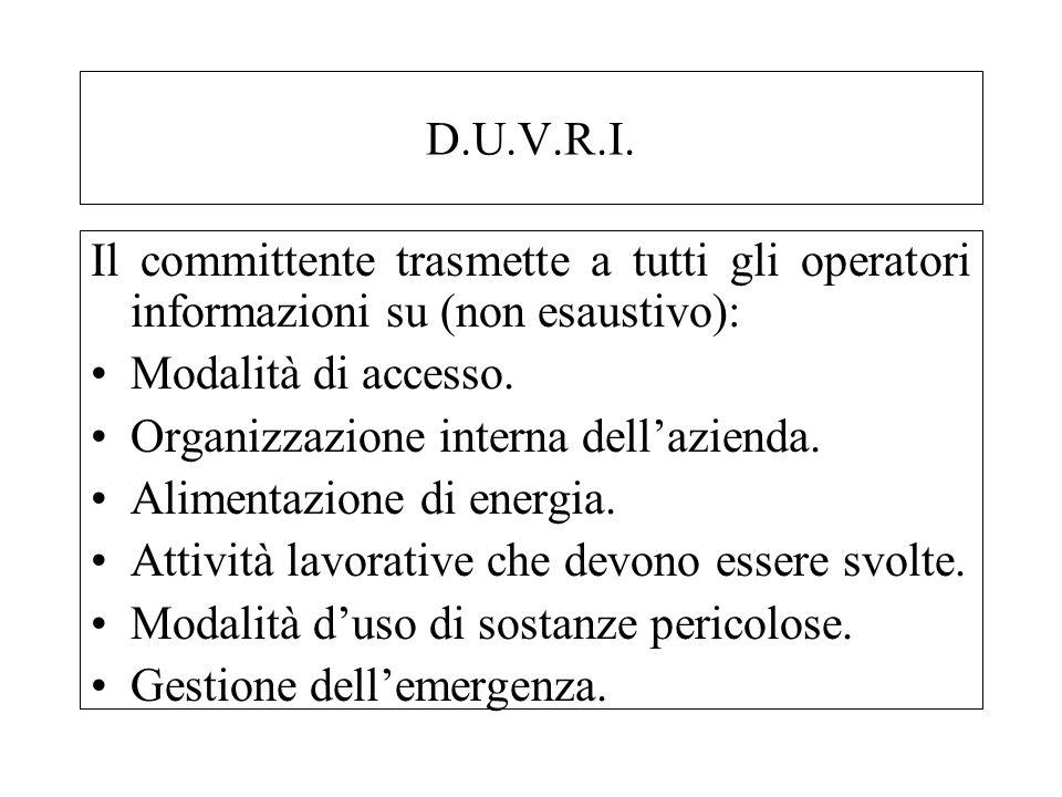 D.U.V.R.I. Il committente trasmette a tutti gli operatori informazioni su (non esaustivo): Modalità di accesso. Organizzazione interna dellazienda. Al