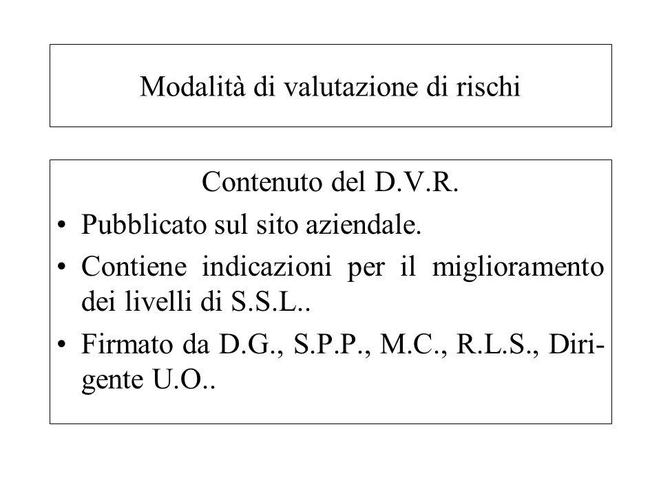Contenuto del D.V.R. Pubblicato sul sito aziendale. Contiene indicazioni per il miglioramento dei livelli di S.S.L.. Firmato da D.G., S.P.P., M.C., R.