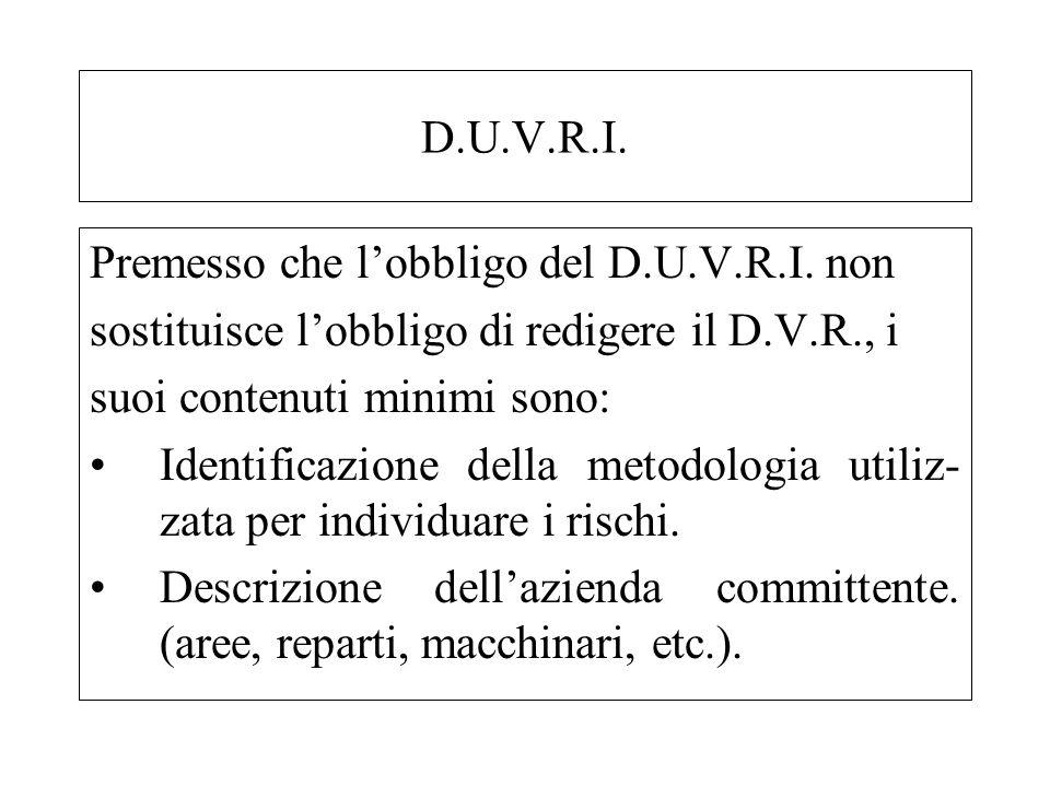 D.U.V.R.I. Premesso che lobbligo del D.U.V.R.I. non sostituisce lobbligo di redigere il D.V.R., i suoi contenuti minimi sono: Identificazione della me